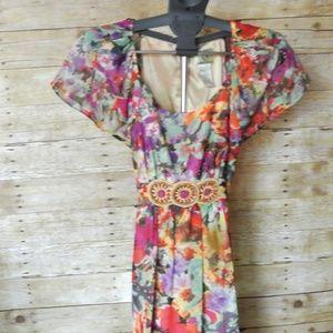 ICE  floral dress beaded belt 12
